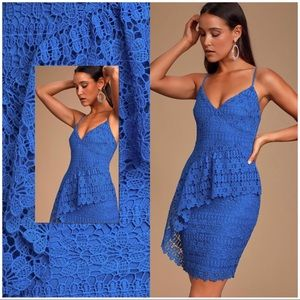 McKenzie Royal Blue Lace Ruffled Dress
